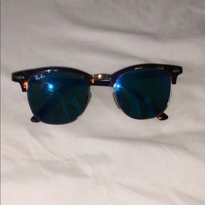 Authentic Raybans- Tortoise/ Blue mirrored glasses